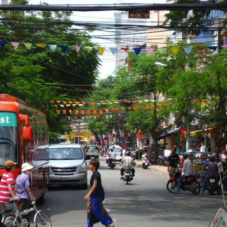 Lively street in District 1, Saigon, Vietnam