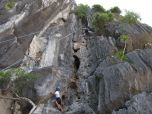 Climbing up the cliff