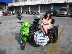 Sittin pretty in the sidecar with our groceries.