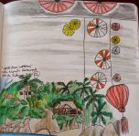 Watercolor of Lanterns, please excuse the beach scene below-that's from Thailand! by Chelsea