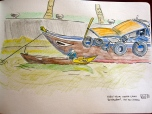 Eric's watercolor of the riverboat