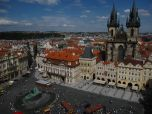 View of Old Town Square from Clock Tower. The statue is Jan Hus and the church is Our Lady Before Tyn.