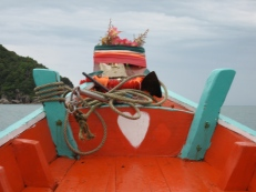 Little Altar and a heart {why not?} on the front of our longtail boat.