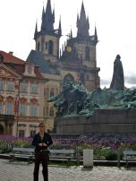Eric in Old Town Square in front of Jan Hus statue, Prague