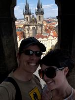 Eric and I in the clock tower, overlooking Tyn Church