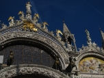 Center facade of St. Marks Basilica, the Four Horses are shown