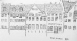 Eric's sketch of Nyhavn, not yet colored