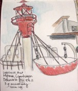 "Quick sketch I did of a ""Lighthouse Boat"" in Nyhavn"
