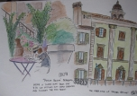 Eric's sketch of Piazza Vecchia from two different perspectives