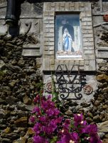 One of the beautiful altars to the Virgin Mary that are everywhere, everywhere in Italy. This one was along a vineyards terrace wall in Manarola.