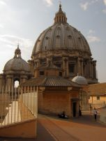 View of the dome of St. Peter's Basilica from the roof. Some people were picnicking up here!