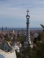 Views of the little old church and ocean, Parc Guell