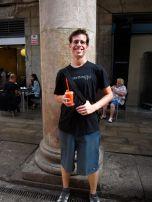 Eric loves the fruit shakes! This one was Strawberry, Orange, Mango.