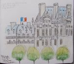 My sketch of the Louvre