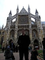 Westminster Abbey towers over Eric.