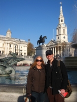 Mom and Eric in front of the National Gallery in Trafalgar Square