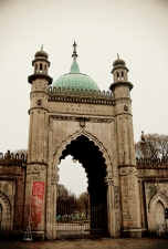An entrance gate at the Royal Pavilion