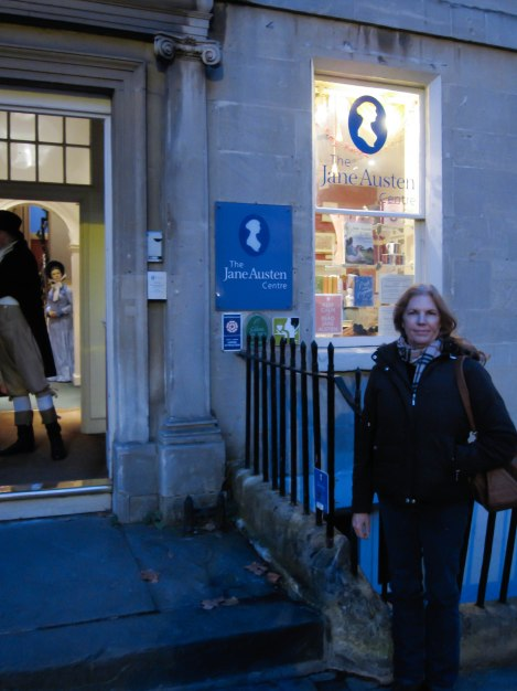 Mom in front of the Jane Austen Museum