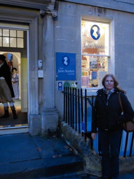 Mom in front of the Jane Austen Museum