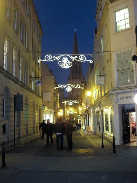 Downtown Bath with Christmas Lights