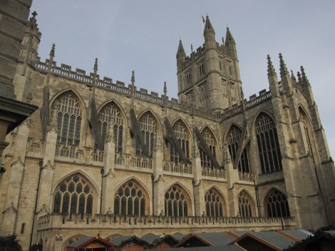 Spires of Bath Abbey from roof of Roman Baths