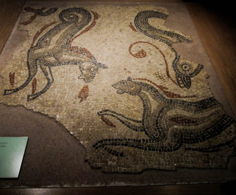 Roman Mosaic from Bath Museum, depicts horses and dolphins